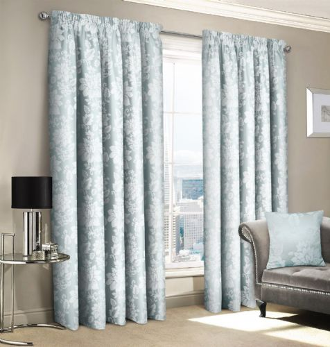 SILVER JACQUARD FLORAL DAMASK DESIGN LINED PENCIL PLEAT STYLISH LUXURY STYLISH CURTAINS